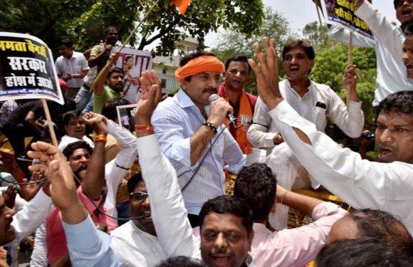 बंगाल में सत्ता प्रायोजित हिंसा में दलित की हत्या के विरोध में दिल्ली भाजपा ने किया प्रदर्शन