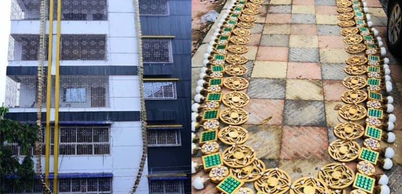 माँ दुर्गा को अर्पित 120 फीट लम्बी माला,इंडिया बुक ऑफ़ रिकार्ड्स में दर्ज़ हुआ नाम