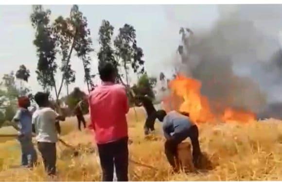 भूसा बनाने वाली मशीन से लगी आग । कई बीघा गेहूं जलकर खाक