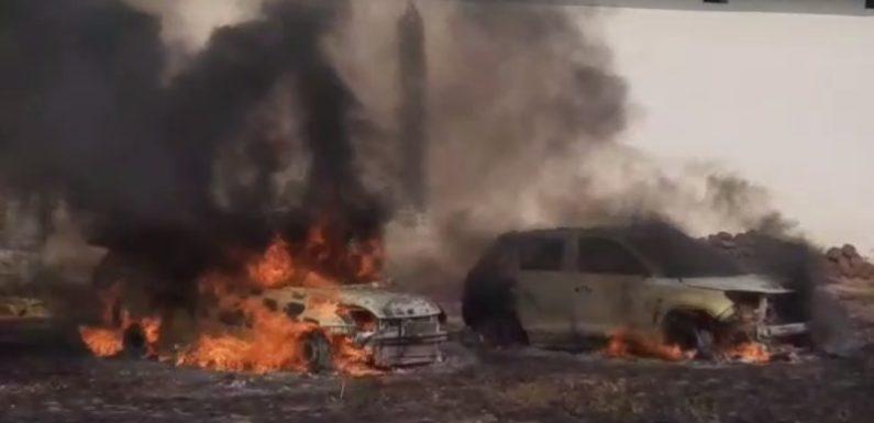 शामली : गाड़ियों में लगी भीषण आग, दो गाड़िया जलकर स्वाहा