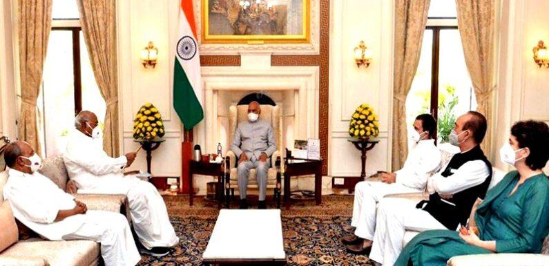 लखीमपुर हिंसा मामले पर राष्ट्रपति कोविंद से मिले राहुल और प्रियंका गांधी, राज्य मंत्री  को पद से हटाने की मांग